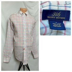 Brooks Brothers 346 Plaid Linen Large Shirt